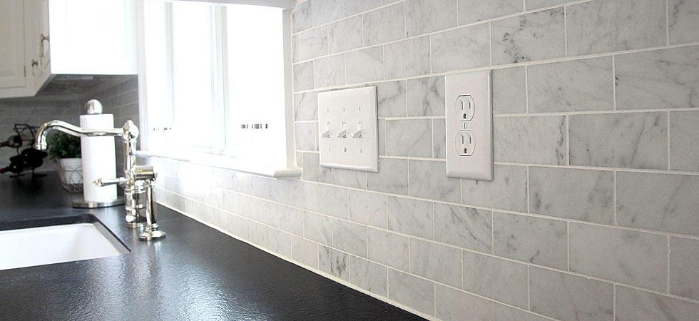 Bianco carrara italian marble tiles polished Italian marble backsplash