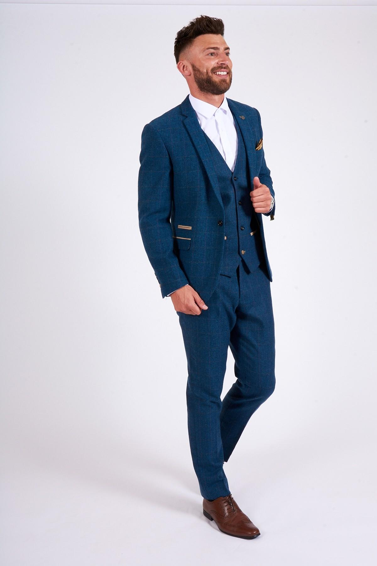 Marc Darcy Dion Blue Tweed Check Suit 03e377382c85