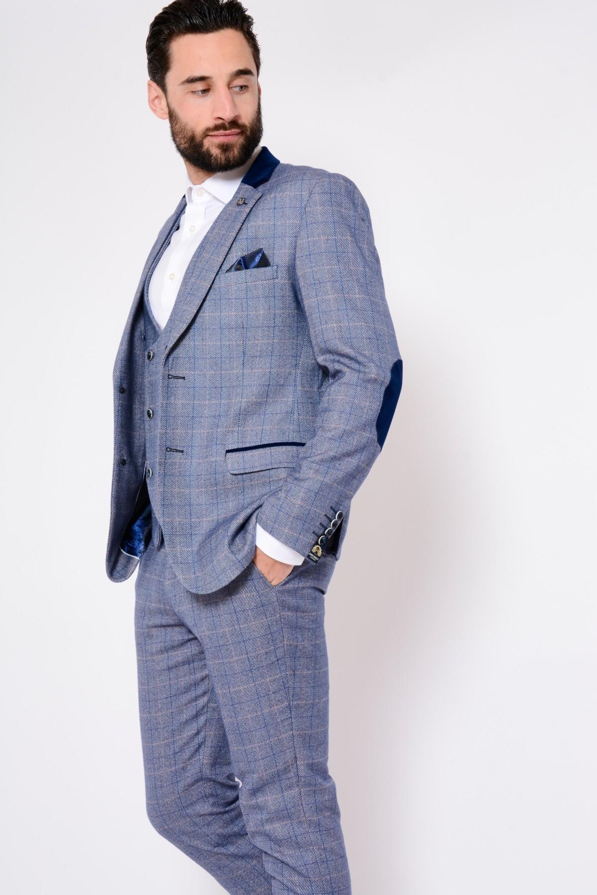 Marc Darcy  Hilton  Blue Check Tweed Blazer 9d3d3114373e