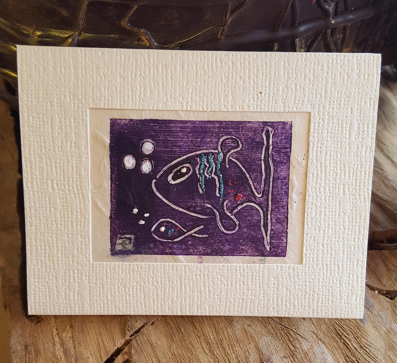 Hand Printed Greeting Cards Fish