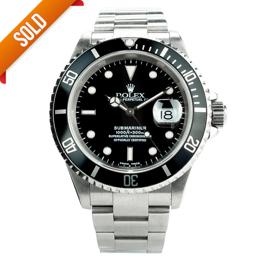 13507770d9f Pre-owned Rolex Submariner Date 16610 Stainless Steel Black Dial