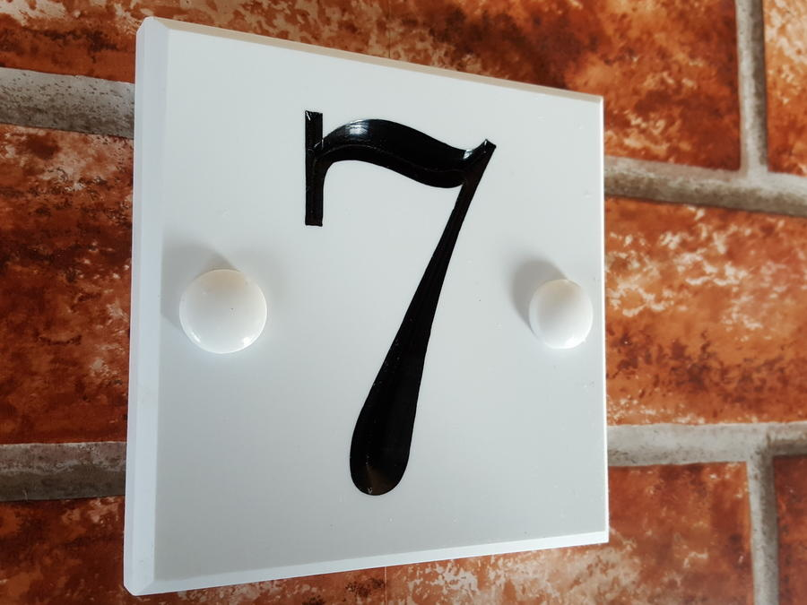 White house number plaque 100mm x 100mm x12mm for House numbers