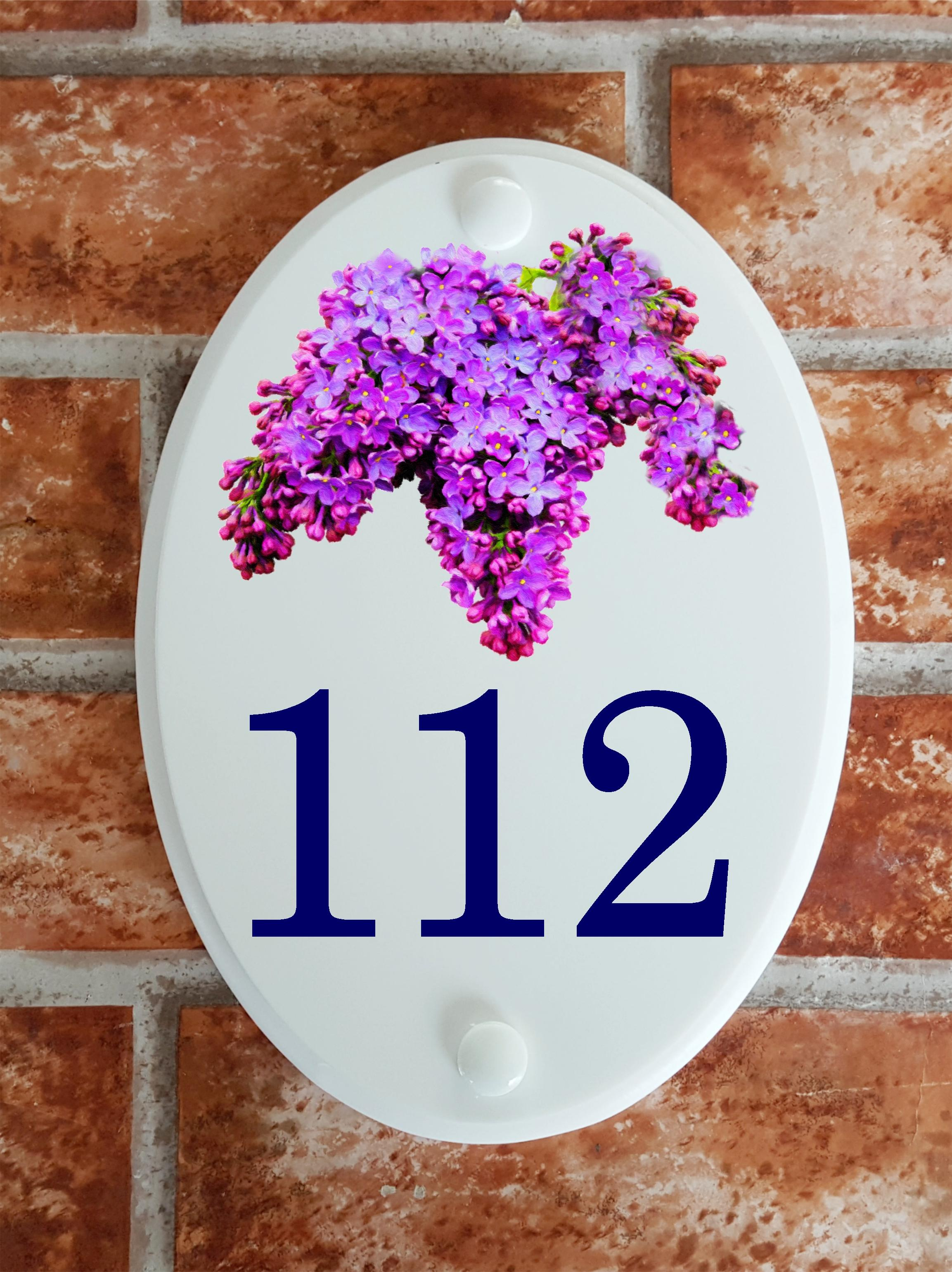 House number plaque with lilac flowers