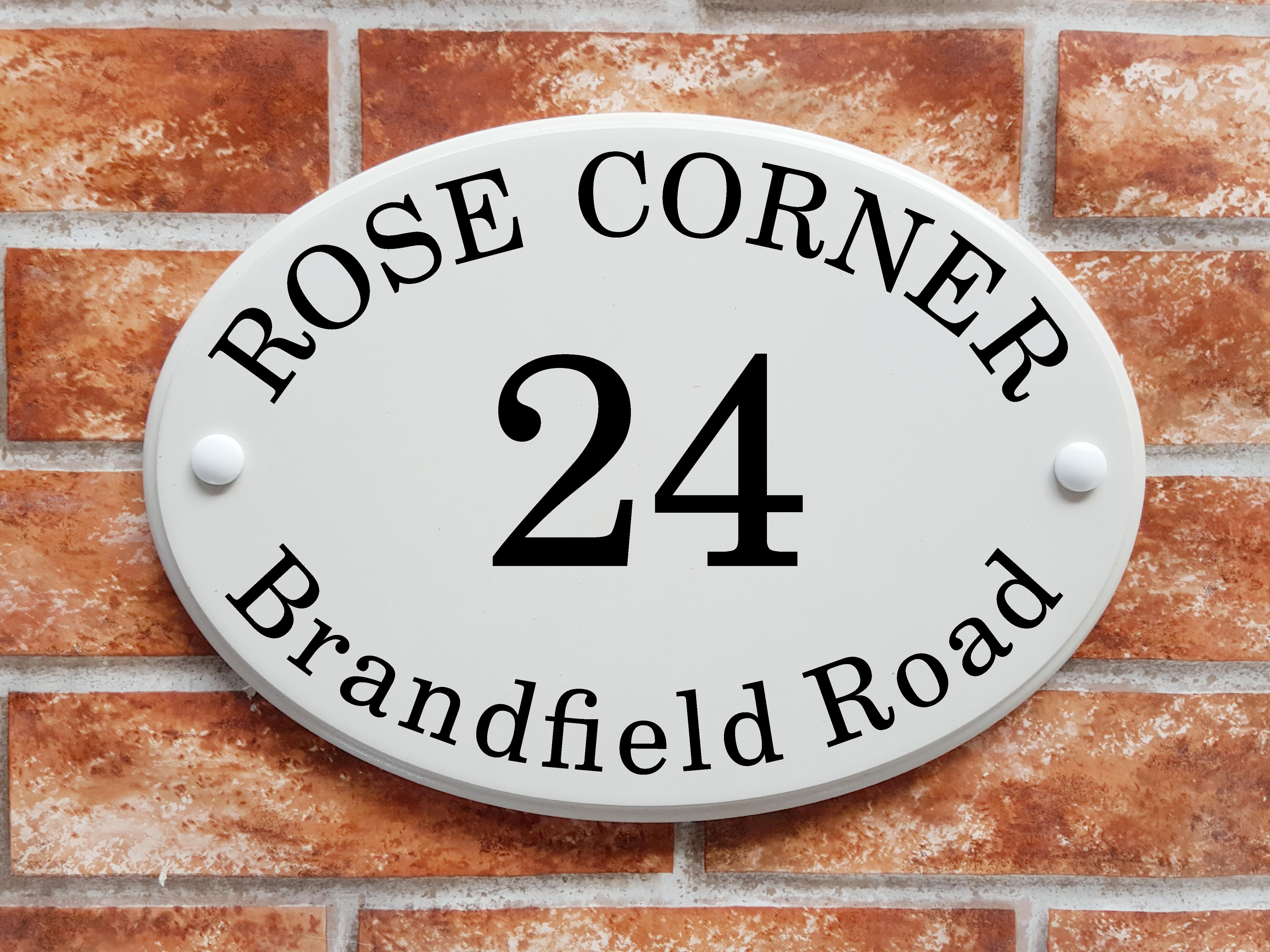 Oval House Name Sign In White With Coloured Text Amp Numbers