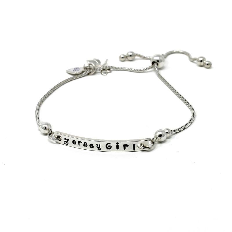 Jersey Girl - Handstamped Lariat Bracelet - Fully Adjustable