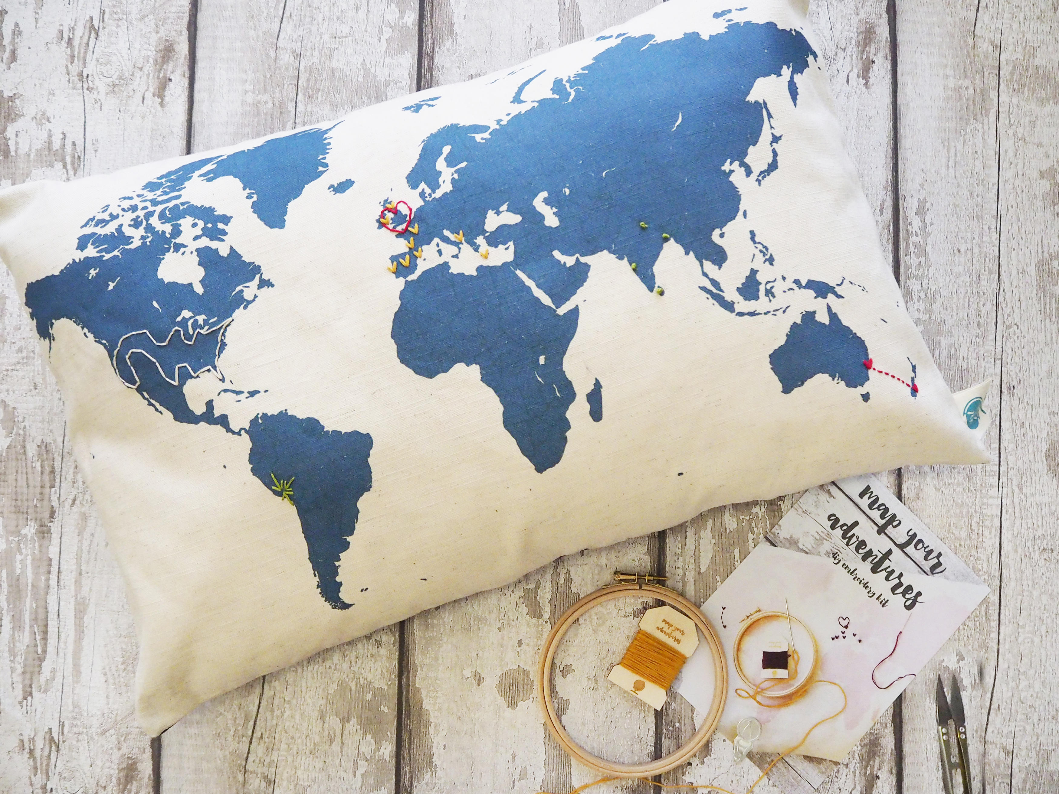 World map silhouette cushion with embroidery kit gumiabroncs Images