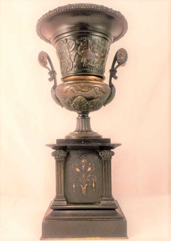 Patinated Bronze Greek Revival Style Urn On Black Marble