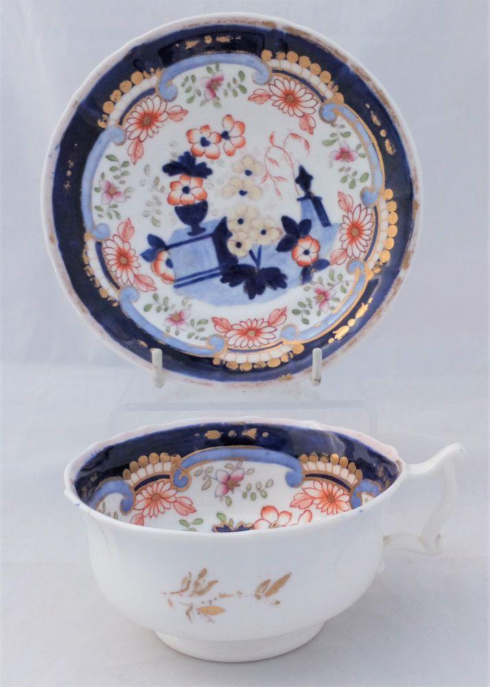 Samuel Alcock Porcelain Painted Urns Tea Cup Saucer 3429 English 1835