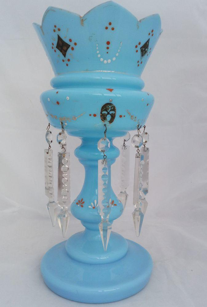 A Blue Opaque Glass Mantle Lustre Vase Antique Victorian C