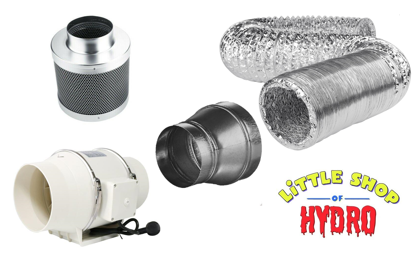 Tt Extractor Fan Ducting Carbon Filter Kit 100mm To 125mm 4 To 5 Value Bundle