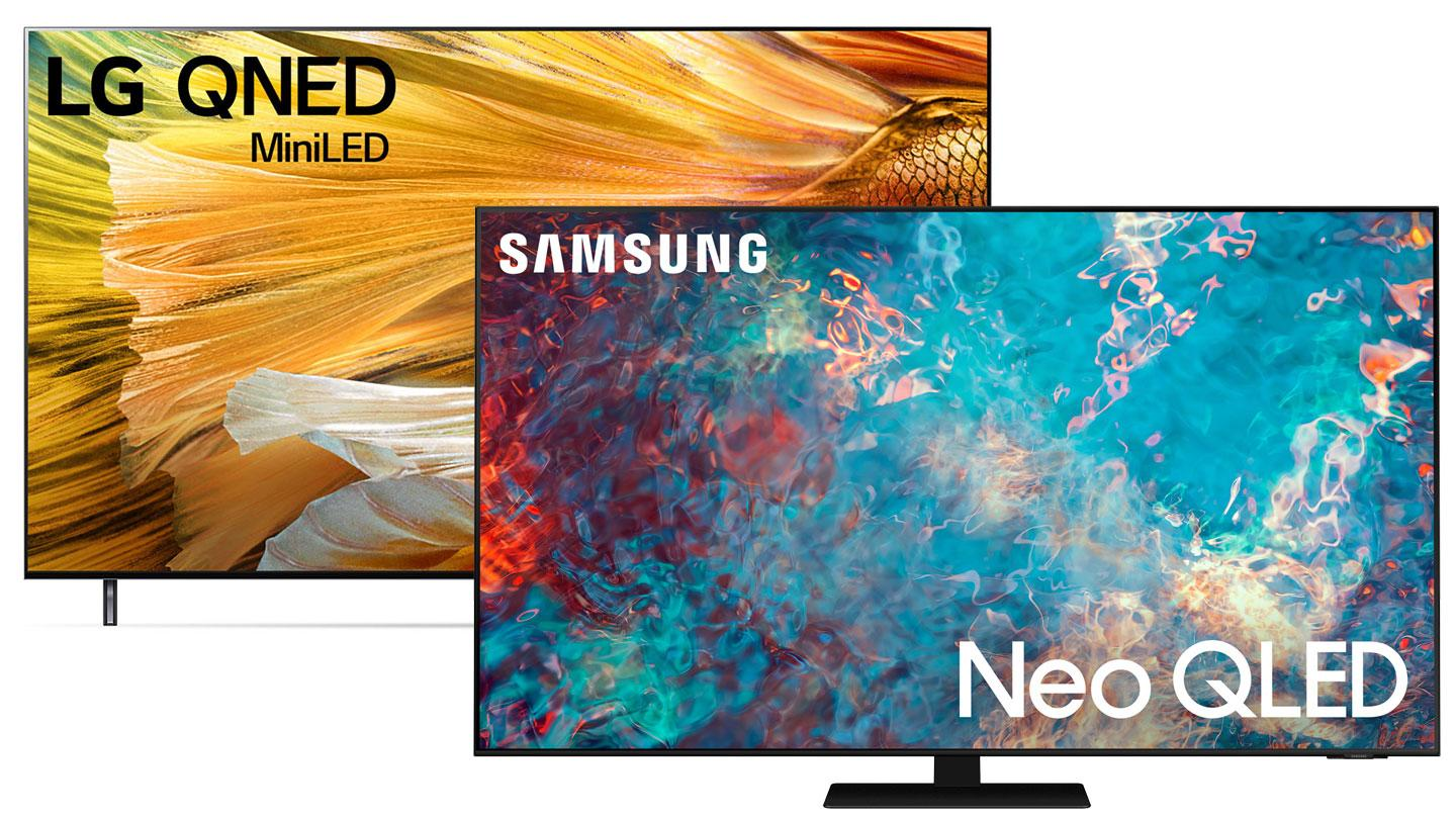 A Samsung Neo QLED TV sat next to a LG QNED TV