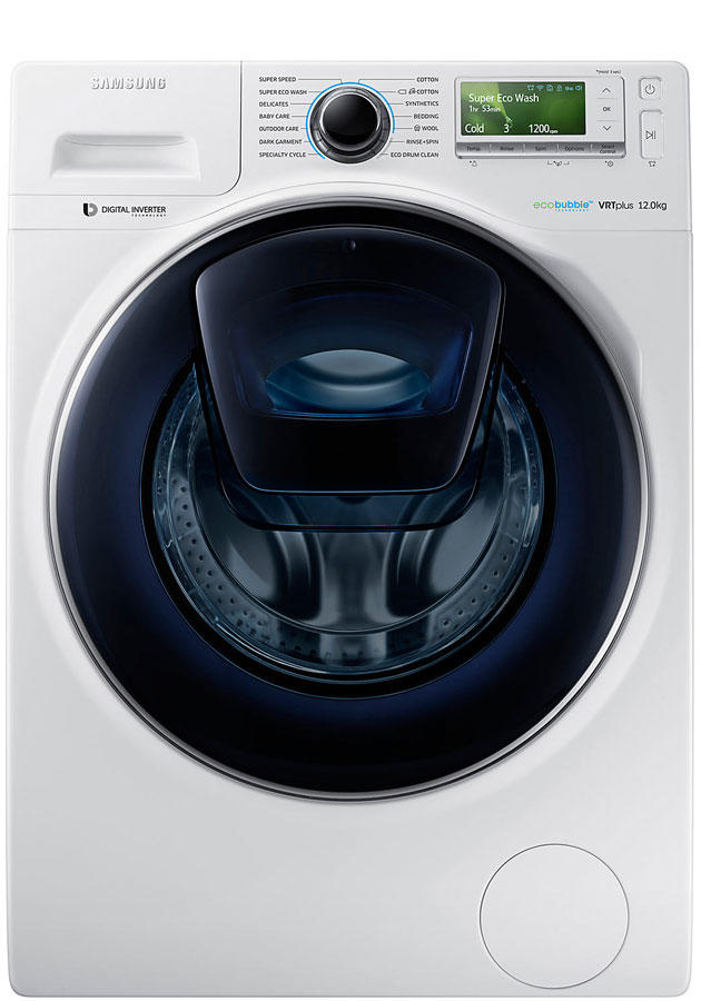 Samsung WW12K8412OW 12Kg 1400 Spin AddWash Washing Machine