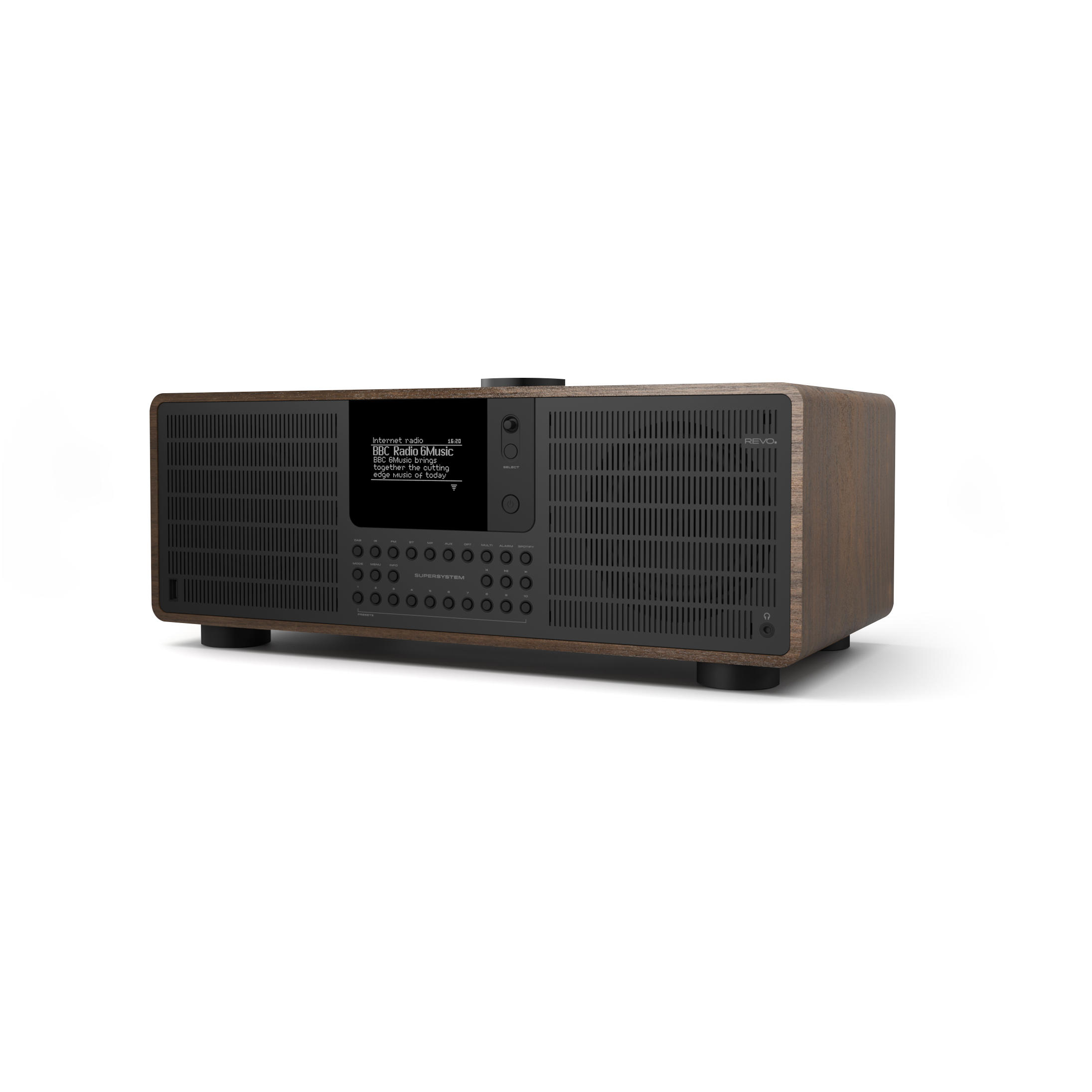Revo SuperSystem DAB Internet Radio With Spotify - Walnut / Black