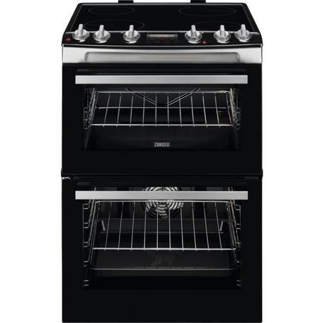 Zanussi ZCV66078XA 60cm Electric Double Oven with Ceramic Hob