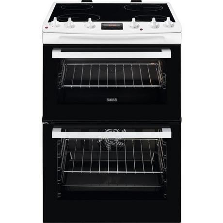 Zanussi ZCV66370WA 60cm Electric Double Oven with Ceramic Hob