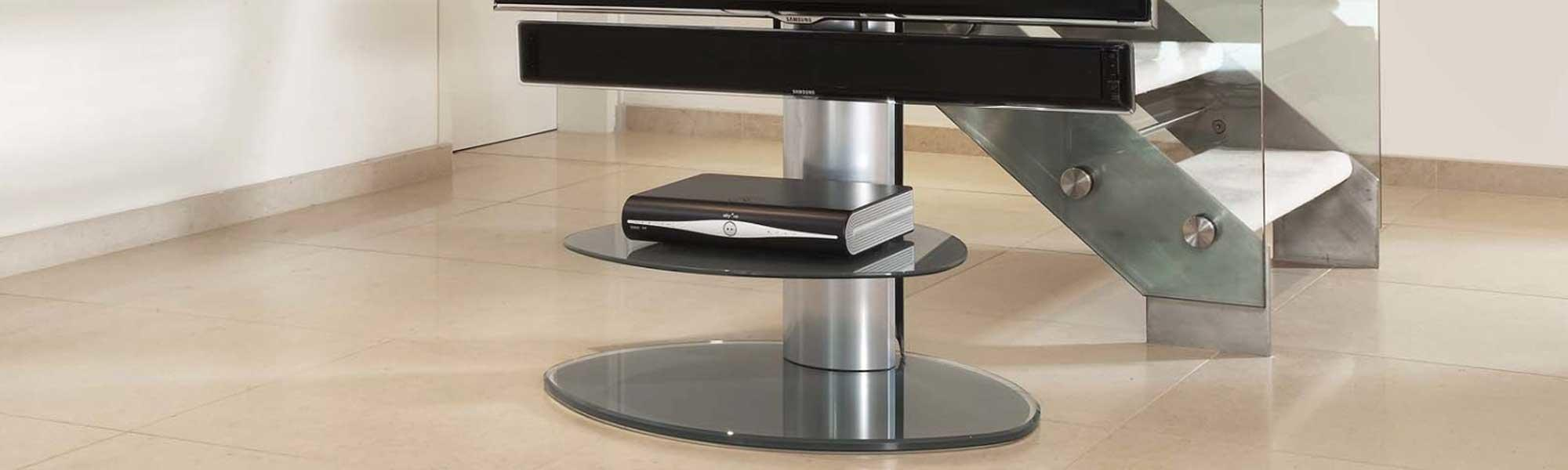 Off The Wall Motion TV Stand with TV Bracket - Silver Glass