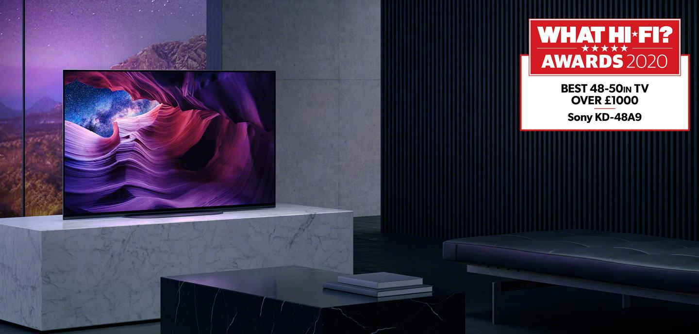 Sony KD48A9BU OLED Television on a stand