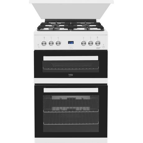 Beko EDG6L33W 60cm Double Oven Gas Cooker with Glass Lid