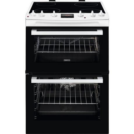 Zanussi ZCV66078WA 60cm Electric Double Oven with Ceramic Hob