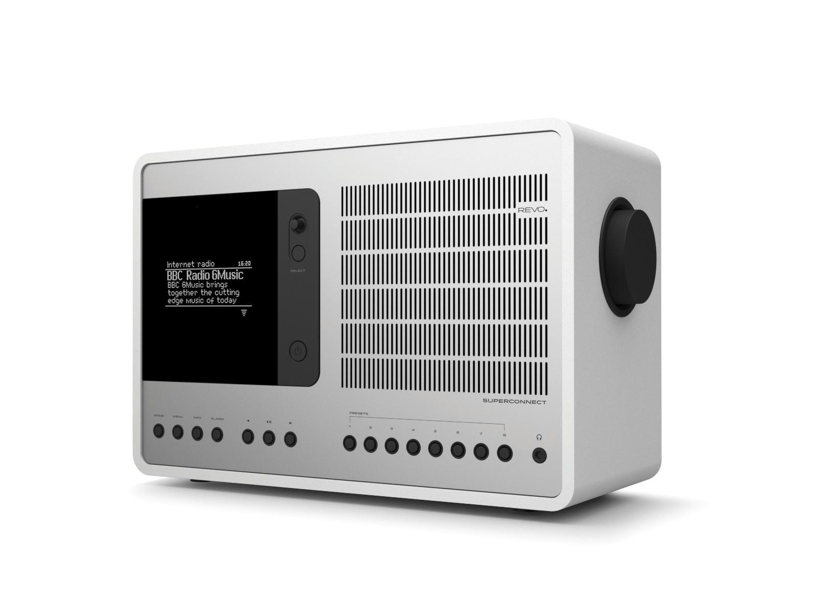 Revo SuperConnect DAB Internet Radio With Spotify - Matt White / Silver