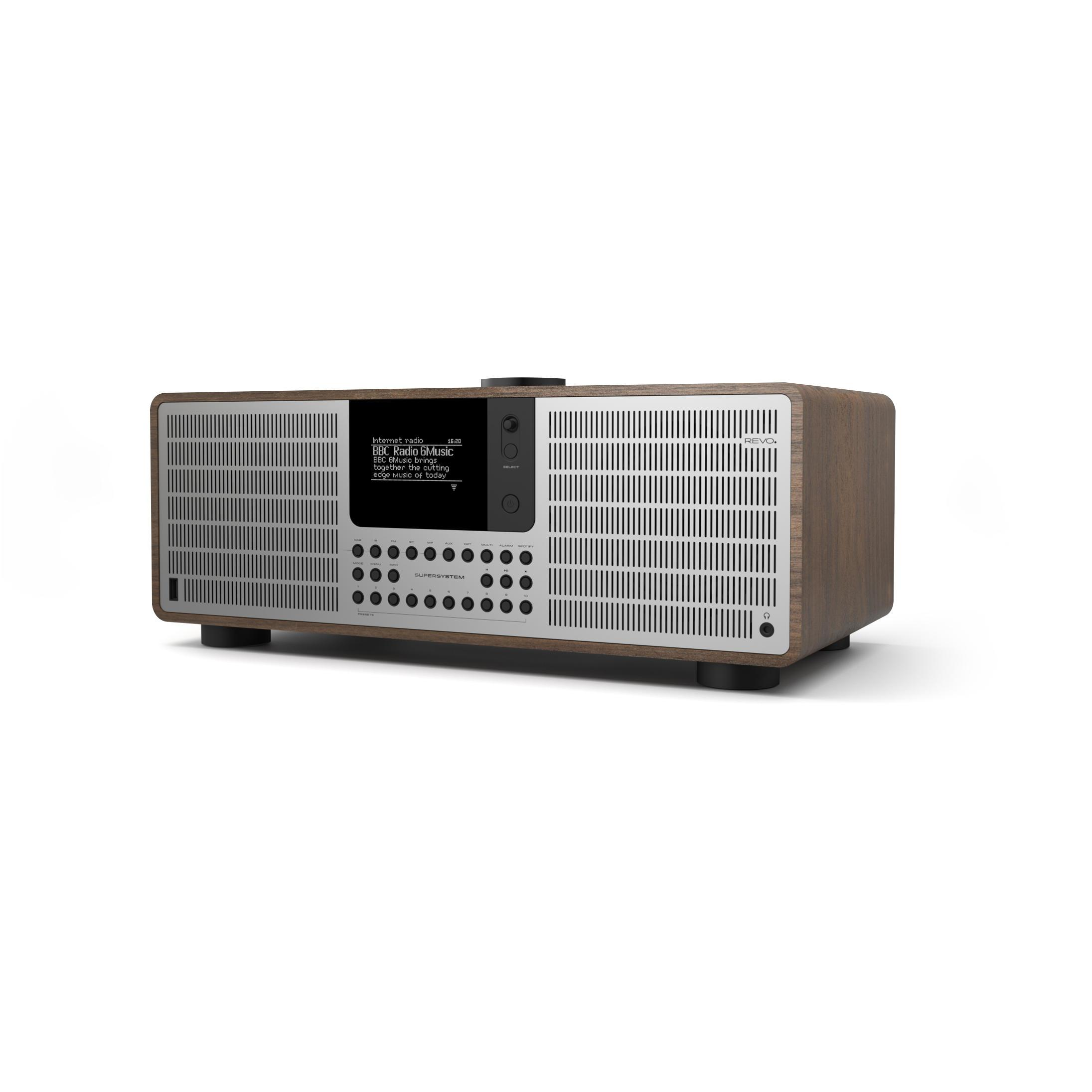 Revo SuperSystem DAB Internet Radio With Spotify - Walnut / Silver