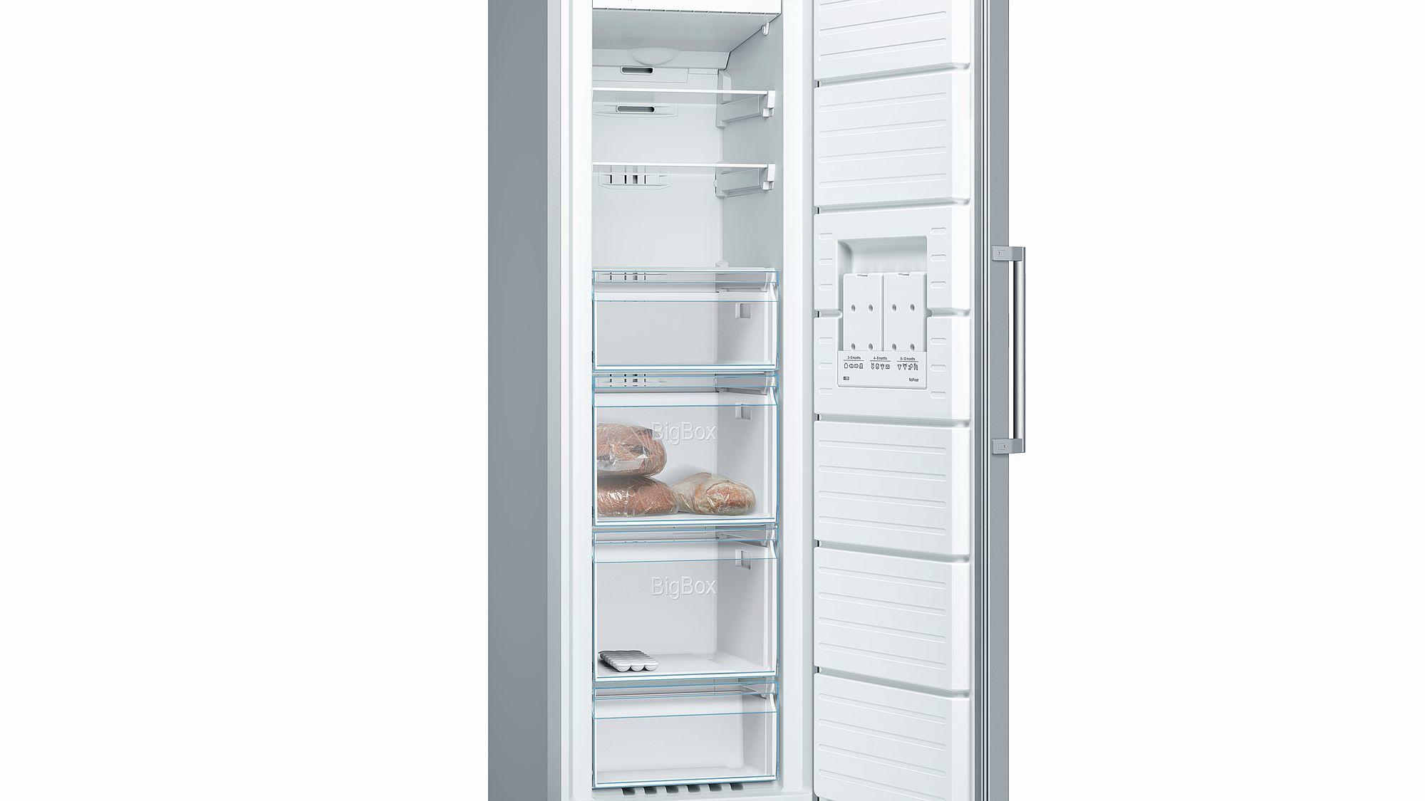 Bosch Serie 4 GSN36VL3PG 237L A++ Tall Single Door Frost Free Freezer - Stainless