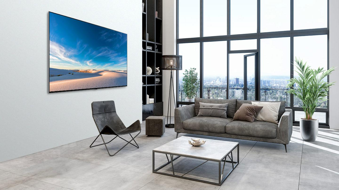 LG QNED TV sat in a room environment