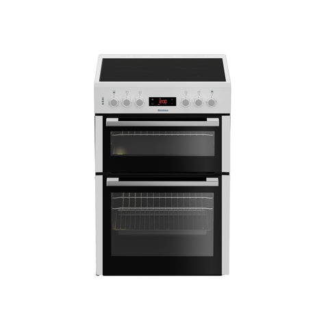 Image of HKN65W 60cm Double Oven Electric Cooker with Ceramic Hob - White