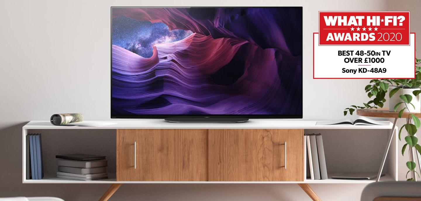 Sony KD48A9BU OLED TV on a cabinet