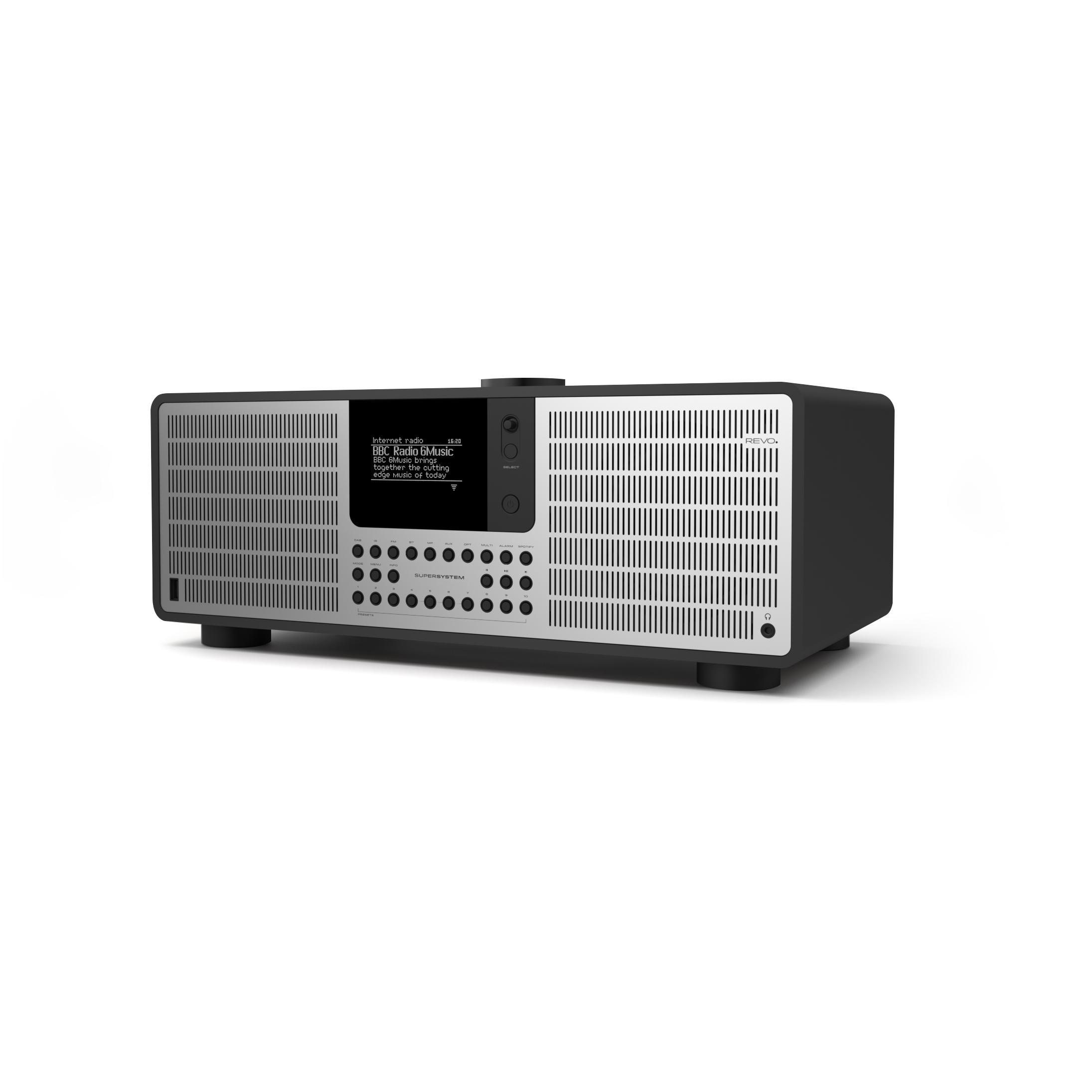 Revo SuperSystem DAB Internet Radio With Spotify - Matt Black / Silver