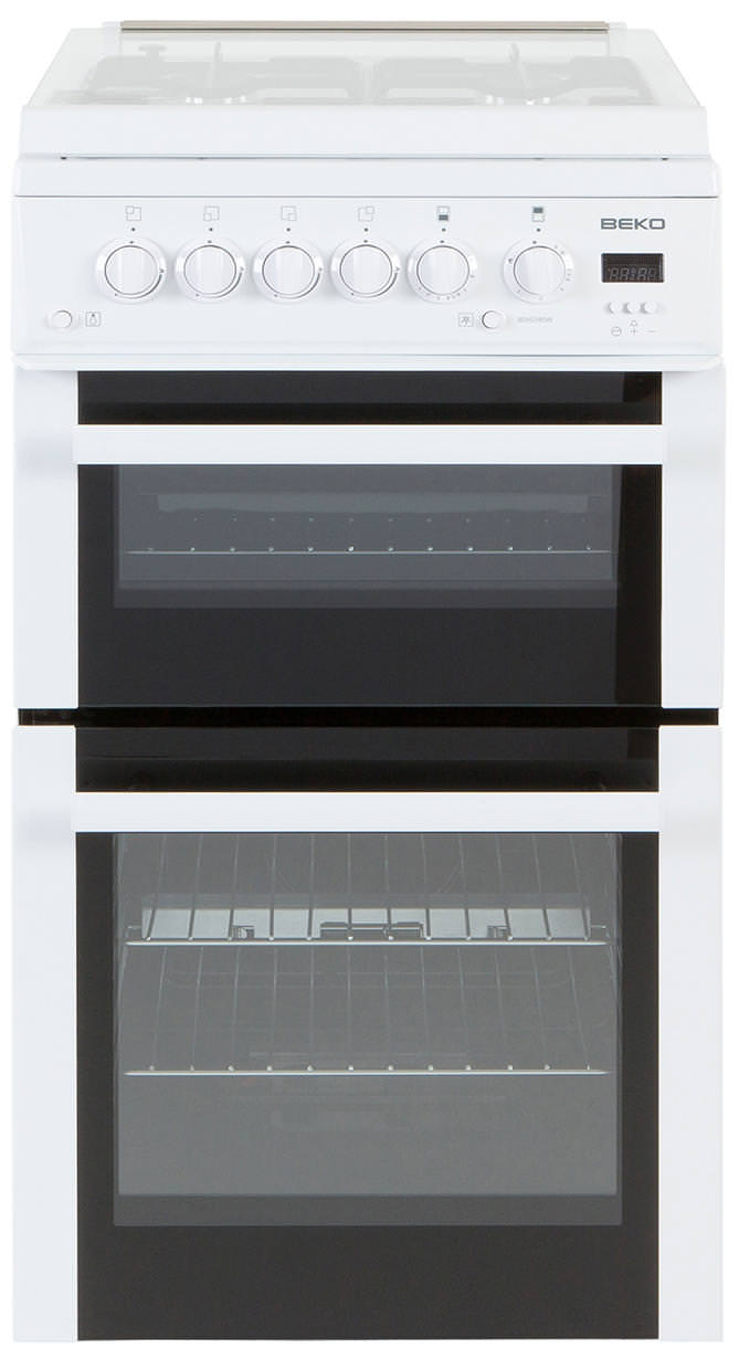 Beko BDVG595W 50cm Gas Double Oven Cooker