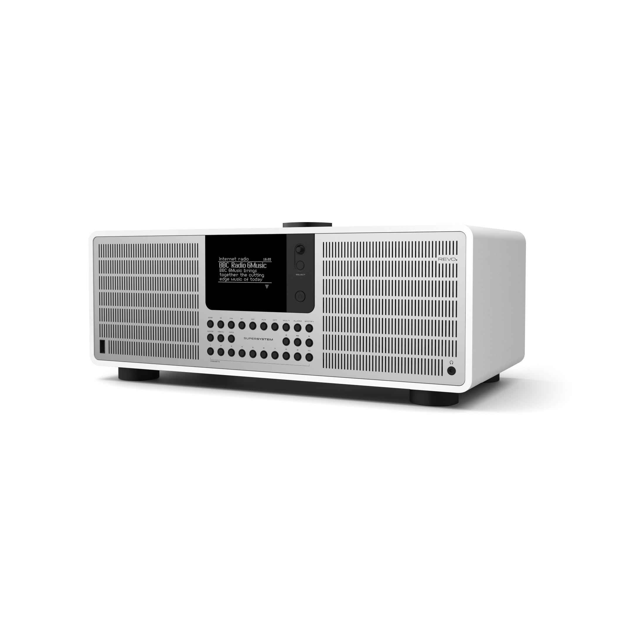 Revo SuperSystem DAB Internet Radio With Spotify - Matt White / Silver