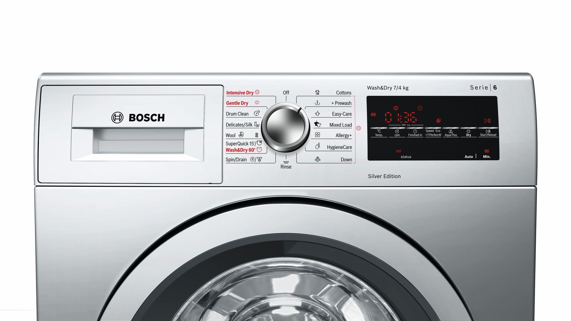 Bosch Serie 6 WVG3047SGB 7Kg Wash 4Kg Dry 1500 Spin Washer Dryer | Silver