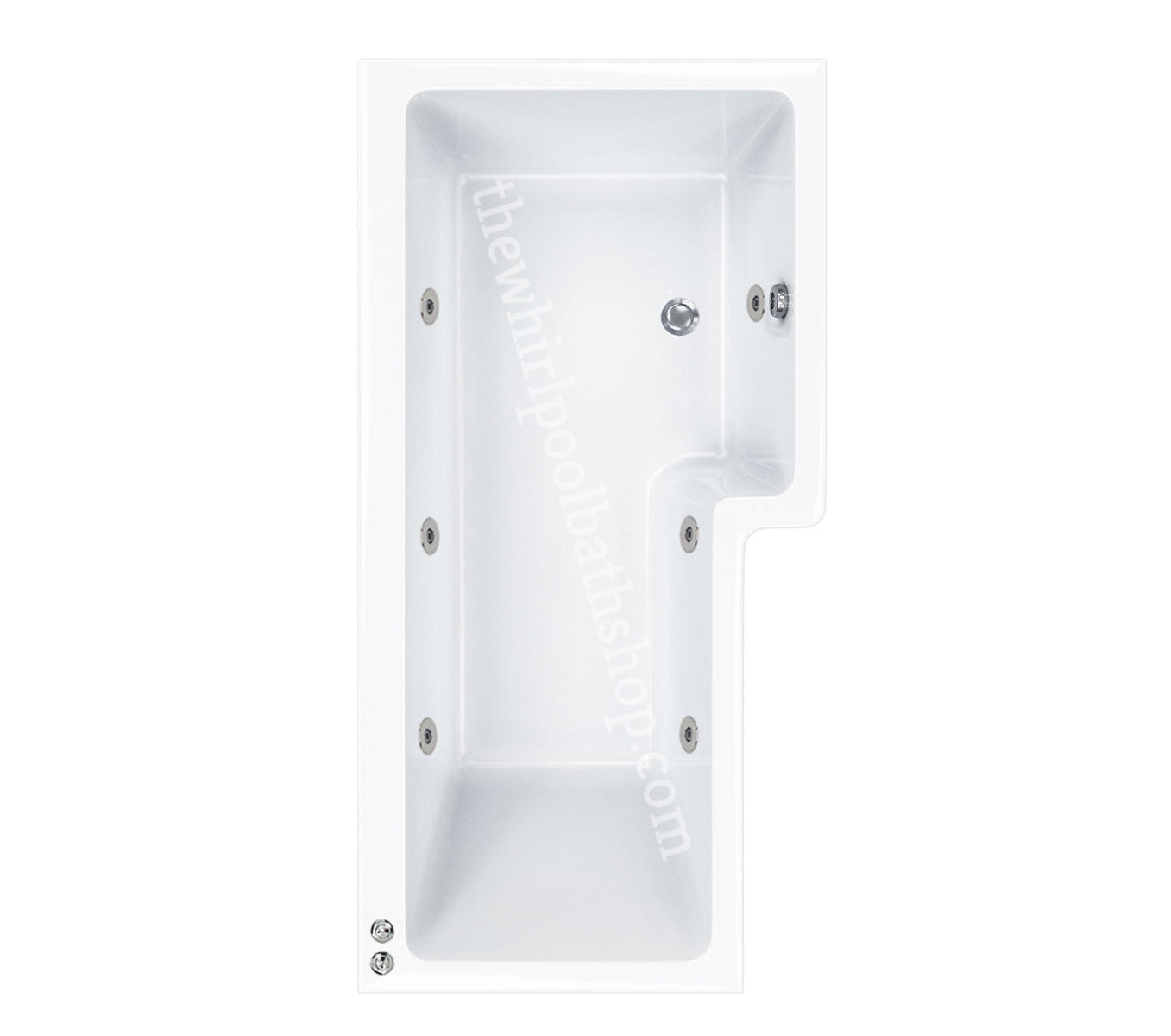 6 jet RH Carron 1700 mm Quantum L Shape Whirlpool Shower Bath