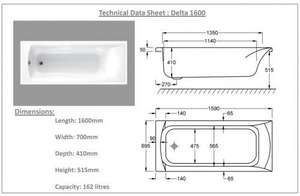 Carron Delta 1600mm 11 Jet Bath Technical