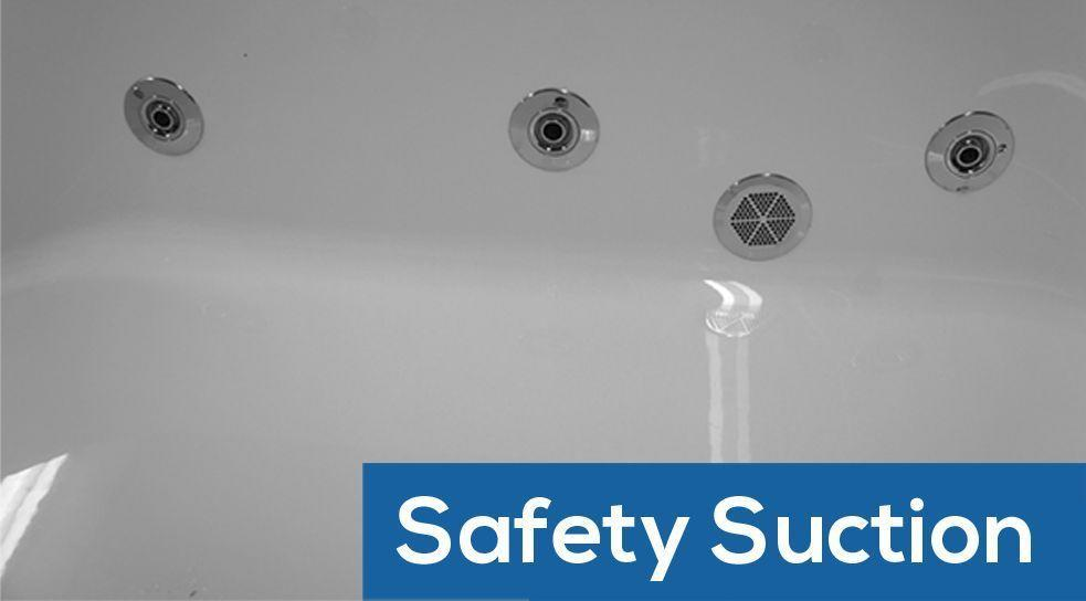 A flush safety suction on a whirlpool bath