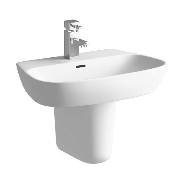 Moods Amyris 1 Tap Hole Basin with Semi Pedestal 600mm