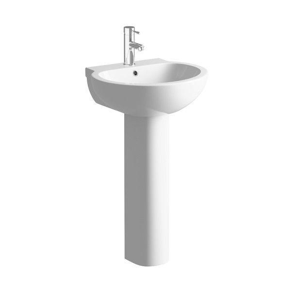 Moods Mimosa 1 Tap Hole Basin with Full Pedestal 550mm