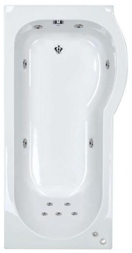 11 jet Trojan Concert 1675 mm Right Hand P Shaped Whirlpool Shower Bath
