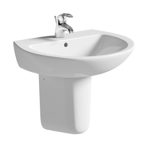 Moods Naples 1 Tap Hole Basin with Semi Pedestal 600mm