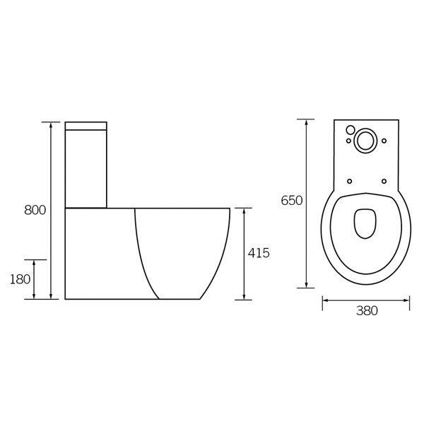 Moods Amyris Close Coupled Toilet & Seat Technical