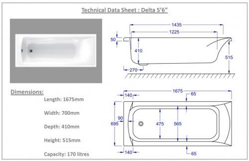 1675mm Carron Delta Technical image