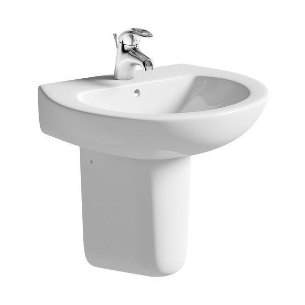 Moods Naples 1 Tap Hole Basin with Semi Pedestal 550mm