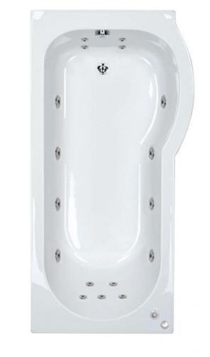 17 jet Trojan Concert 1675 mm Right Hand P Shaped Whirlpool Shower Bath