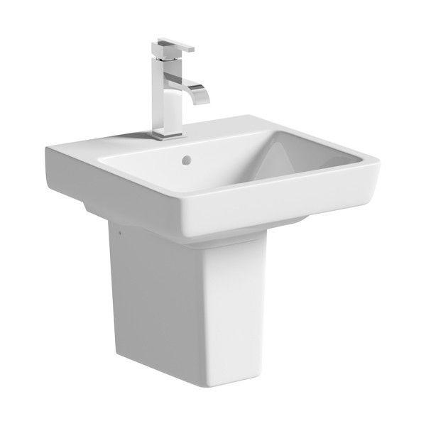 Moods Neroli 1 Tap Hole Basin with Semi Pedestal 450mm