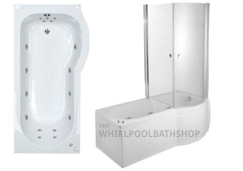 RH P Shaped 17 Jet Enclosed Whirlpool Shower Bath