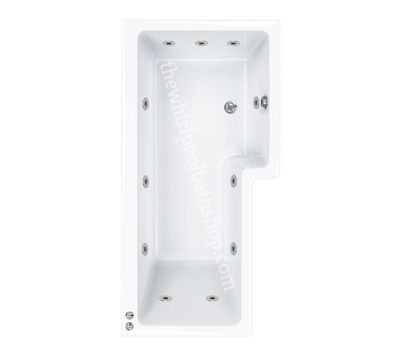 11 jet RH Carron 1700 mm Quantum L Shape Whirlpool Shower Bath