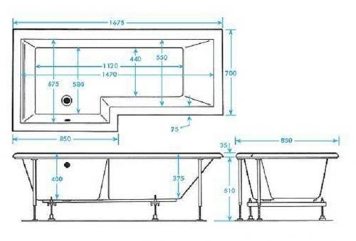 LH 12 Jet L Shaped Spa Bathroom Suite technical