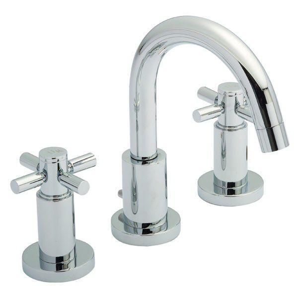 Hudson Reed Tec Crosshead 3 Tap Hole Small Spout Basin Mixer TEX