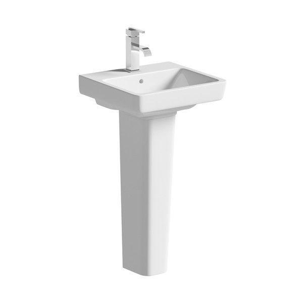 Moods Neroli 1 Tap Hole Basin with Full Pedestal 450mm